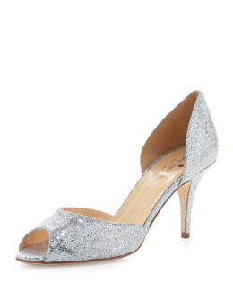 kate spade new york sage glitter peep-toe d'orsay pump, silver
