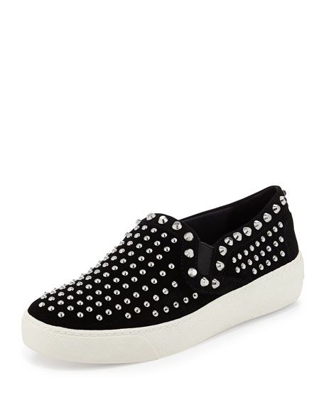 Braxton Silver-Studded Suede Slip-On, Black