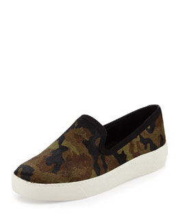 Sam Edelman Becker Camouflage Calf Hair Slip-On, Olive