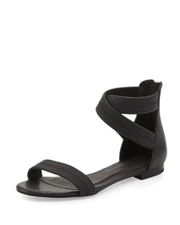 Joie Norah Elastic Leather Sandal, Black