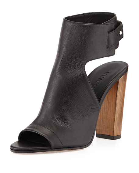 Addie Open-Toe Buckle-Back Bootie, Black
