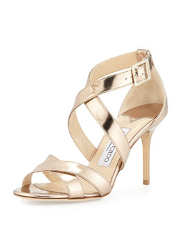 Jimmy Choo Louise Metallic Crisscross Sandal, Nude