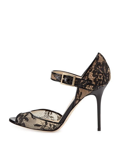 Lace Peep-Toe Mary Jane Pump