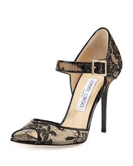 Jimmy Choo Lace Peep-Toe Mary Jane Pump