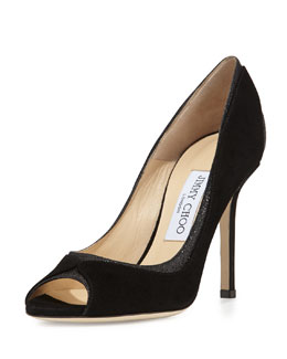 Jimmy Choo Deceive Suede Glitter Peep-Toe Pump