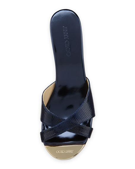 Pandora Snake-Print Wedge Slide Sandal, Navy
