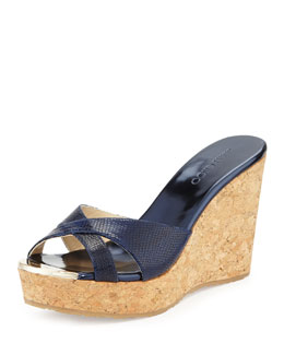 Jimmy Choo Pandora Snake-Print Wedge Slide Sandal, Navy
