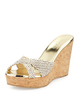 Jimmy Choo 100MM Pandora Snake-Print Slide Sandal, Natural