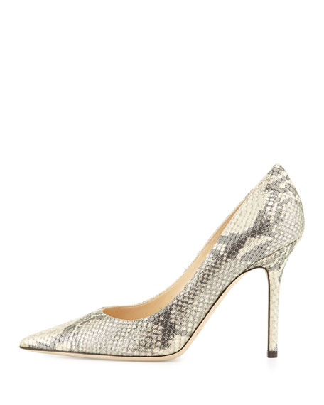 Abel Metallic Snake-Print Leather Point-Toe Pump, Neutral