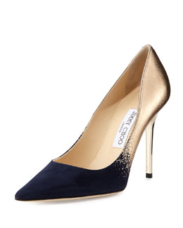 Jimmy Choo Abel Degrade Point-Toe Pump, Navy/Nude