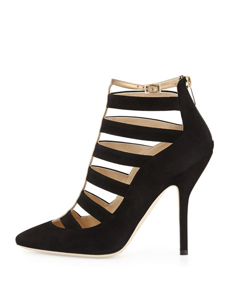 Freeze Strappy Cage Pump, Black/Gold