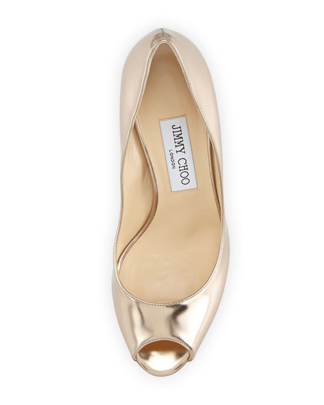 Evelyn Metallic Leather Peep-Toe Pump, Nude