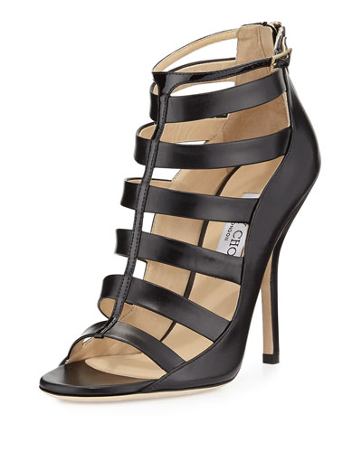 Jimmy Choo Fathom Strappy Cage Bootie, Black