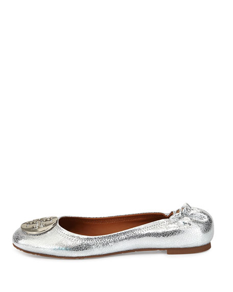 Reva Crackled Metallic Ballerina Flat, Silver