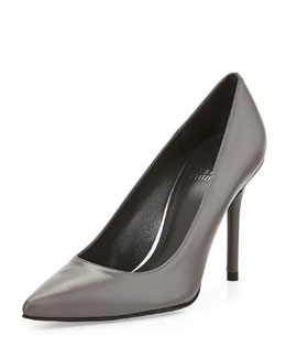 Stuart Weitzman Flirt Leather Point-Toe Pump, Gray