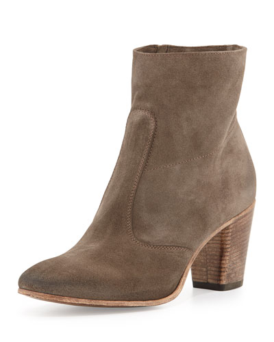 Alberto Fermani Diva Suede Ankle Bootie, Taupe
