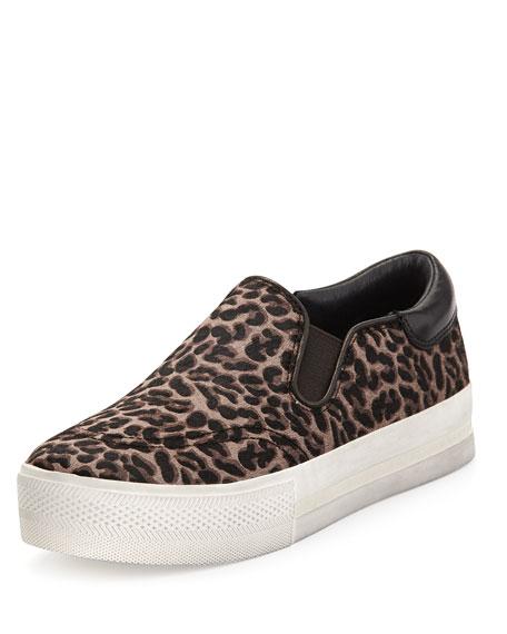 Leopard-Print Calf Hair Slip-On Sneaker, Black/Brown