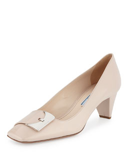 Prada Patent Square Buckle Pump, Powder (Cipria)