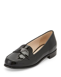 Prada Patent Triangle Logo Loafer, Nero