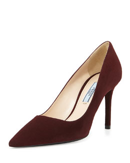 Prada Suede Point-Toe Pump, Amaranto