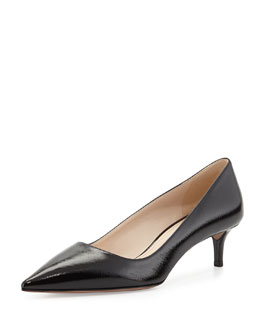 Prada Saffiano Point-Toe Pump, Nero