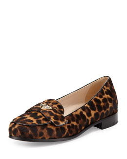 Prada Calf Hair Triangle Logo Loafer, Miele/Moro