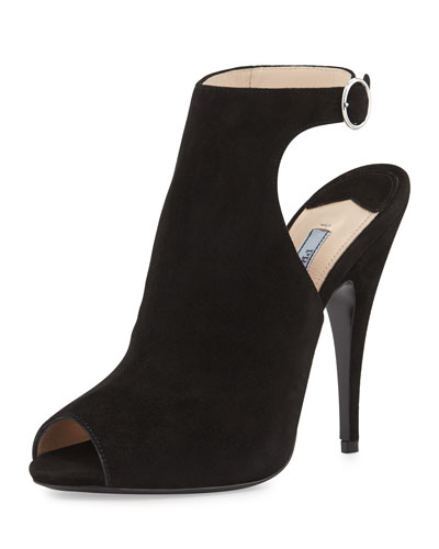 Prada Suede Peep-Toe Ankle-Strap Bootie