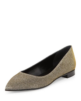 Saint Laurent Metallic Point-Toe Flat, Silver
