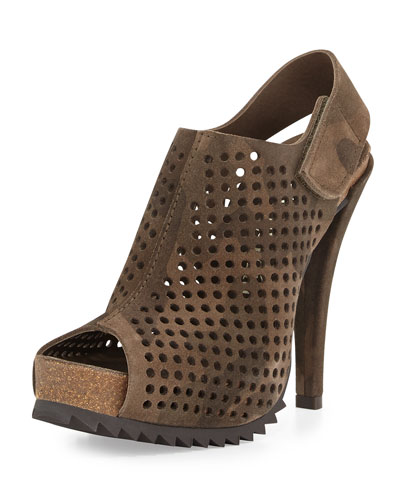 Pedro Garcia Perforated Suede Slingback Bootie, Camo Print