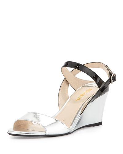 Prada Specchio/Vernice Wedge Sandal