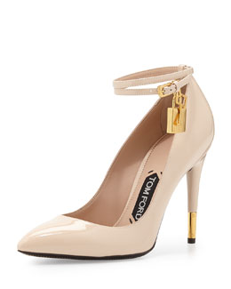 Tom Ford Padlock Ankle-Strap Pump, Nude