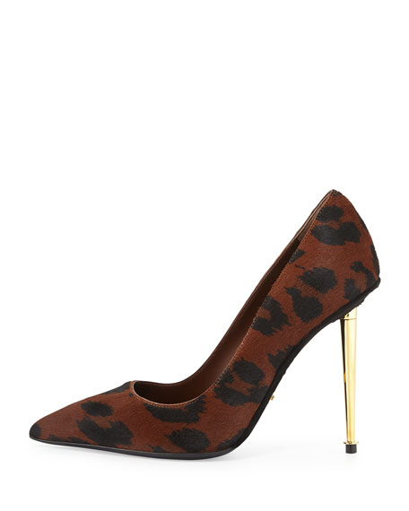 Leopard-Print Calf Hair Pointed-Toe Pump, Cognac