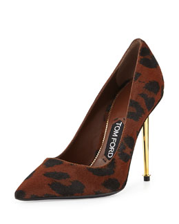 Tom Ford Leopard-Print Calf Hair Pointed-Toe Pump, Cognac