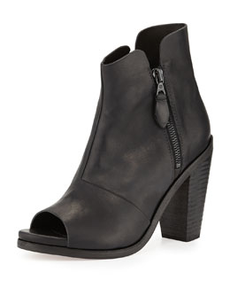 Rag & Bone Noelle Peep-Toe Leather Ankle Boot, Black