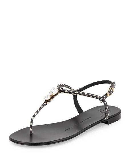 Nuvorock Spotted Flat Jewel Thong Sandal, Black/White