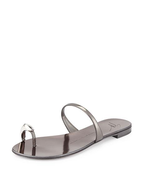 Nuvorock Metallic Leather Flat Toe-Ring Sandal, Silver