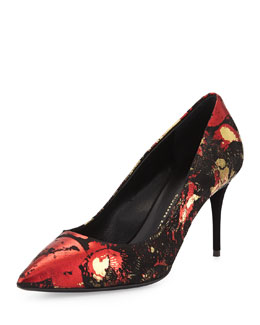 Giuseppe Zanotti Yvette Foil Point-Toe Pump, Black/Red/Gold