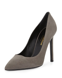 Saint Laurent Suede Pointed-Toe Pump, Gray