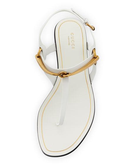 Tess Horsebit Slingback Thong Sandal, White