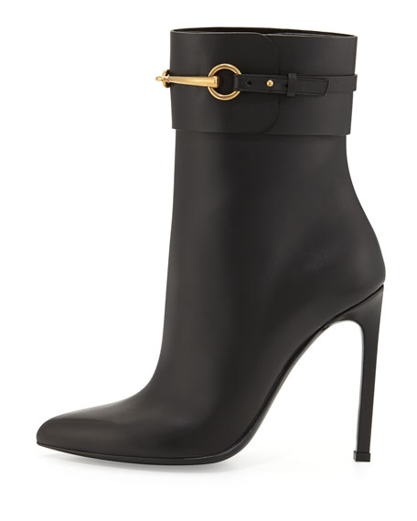 Ursula Leather Horsebit Bootie, Black
