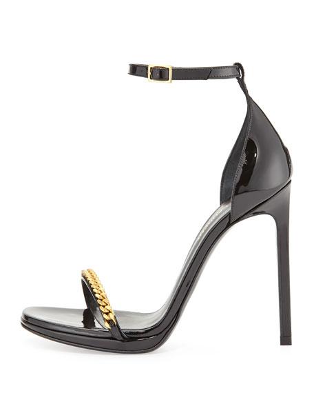 Patent Chain-Trim Ankle-Strap Sandal