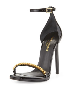 Saint Laurent Patent Chain-Trim Ankle-Strap Sandal