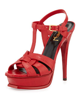 Saint Laurent Tribute Croc-Print Leather Platform Sandal, Red