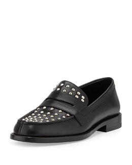 Saint Laurent Studded Leather Penny Loafer, Black