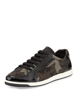 Prada Linea Rossa Low-Top Camo Nylon Sneaker, Black Pattern