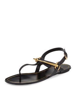 GUCCI Tess Horsebit Thong Sandal, Black