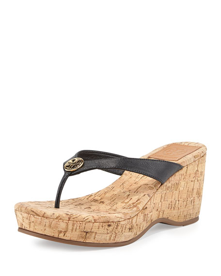 Suzy Cork Wedge Thong Sandal, Black