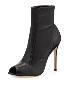 Gianvito Rossi Stretch Leather Peep-Toe Bootie, Black