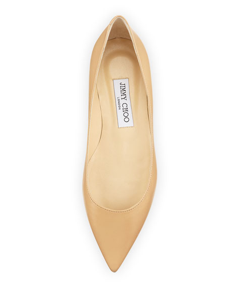 Alina Pointy Leather Flat, Nude