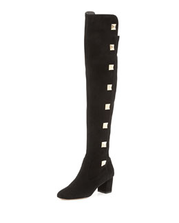 Valentino Rockstud Suede Over-the-Knee Boot, Black